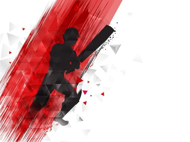 Silhouette di battitore giocatore e effetto pennello rosso su sfondo bianco elementi triangolo.