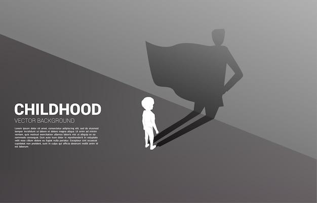 Siluetta del ragazzo e la sua ombra dell'illustrazione di concetto del supereroe