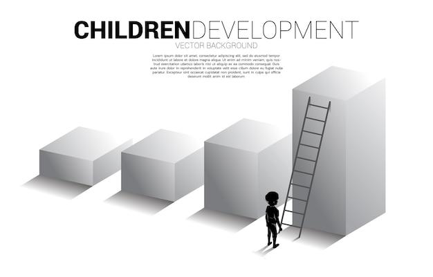 Siluetta del ragazzo in piedi sul grafico a barre con scala. bandiera dell'educazione e dell'apprendimento dei bambini.