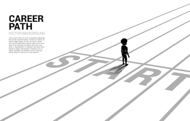 Silhouette di un ragazzo in piedi alla linea di partenza illustrazione