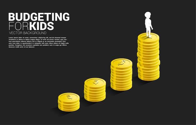 Siluetta del ragazzo che sta sopra il grafico di crescita con la pila di moneta. banner del budget per i bambini.