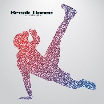 Sagoma di una ballerina di break da triangoli