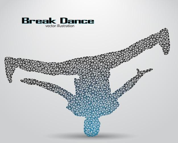 Silhouette di un'illustrazione di ballerino di break dance