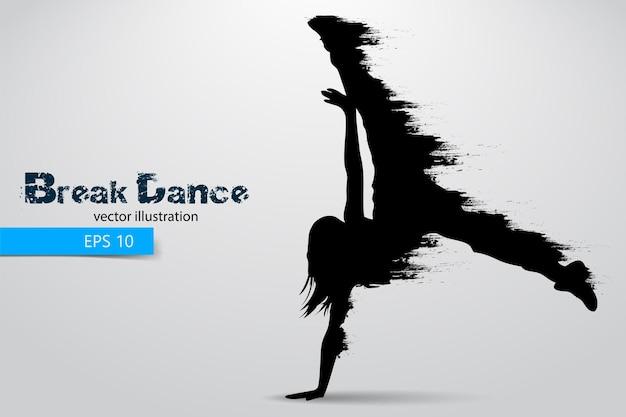 Silhouette di una ballerina di break dance break