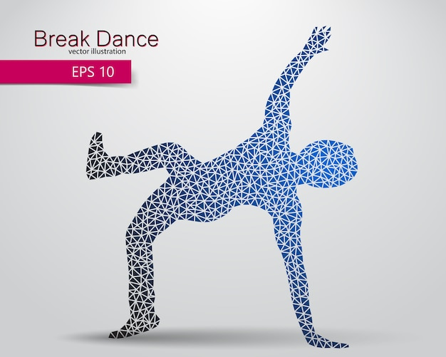 Silhouette di una ballerina di break dance