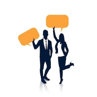 Gente di affari della siluetta dell'uomo d'affari e donna Vettore Premium