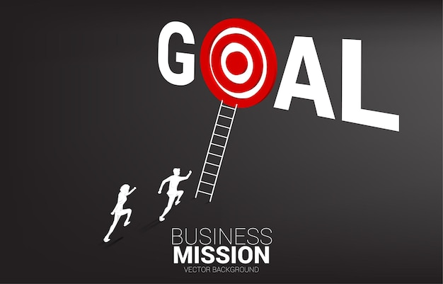 Siluetta della concorrenza dell'uomo d'affari con la scala per mirare al bersaglio nella parola obiettivo. illustrazione della missione di visione e obiettivo del business