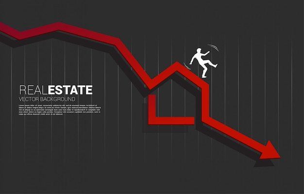 Siluetta dell'uomo d'affari che cade dall'icona domestica nella caduta della freccia. concetto di declino nel settore immobiliare e prezzo degli immobili