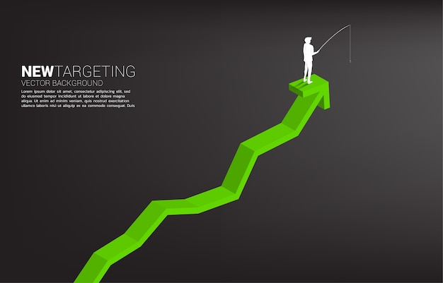 Silhouette di uomo d'affari di pesca in cima al grafico concetto di targeting e di esche nel mondo degli affari