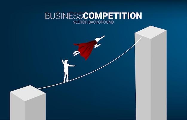 La siluetta dell'uomo d'affari che vola compete con l'uomo che cammina sulla corda al grafico a barre più alto. concetto di rischio aziendale e percorso di carriera