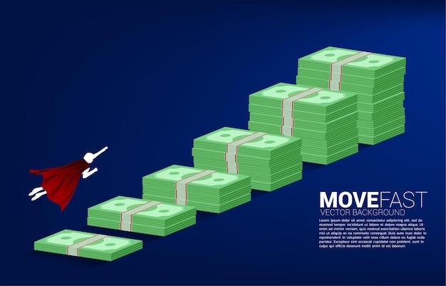 Siluetta dell'uomo d'affari che vola sopra il grafico di crescita con la pila di banconote. concetto di investimento di successo e crescita nel business