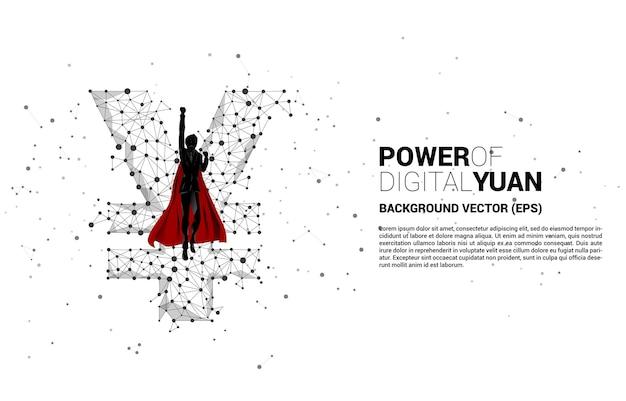 Siluetta dell'uomo d'affari che vola con i soldi icona della valuta yuan cinese dalla linea di connessione del punto poligono concetto per la rapida crescita dello yuan digitale cinese.