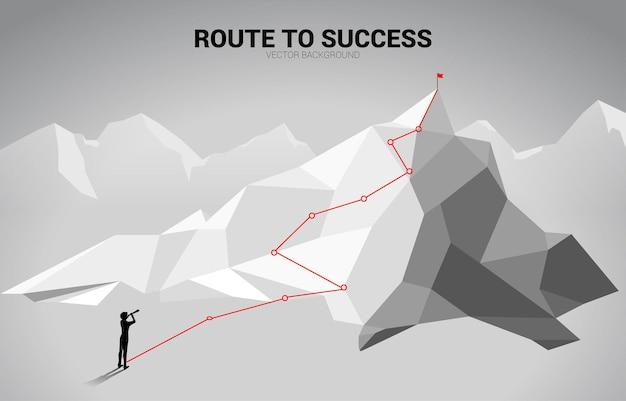 Siluetta dell'uomo d'affari che guarda attraverso il telescopio sul percorso verso la cima della montagna. concetto di obiettivo, missione, visione, percorso di carriera, concetto di vettore stile linea di collegamento a punti poligonali