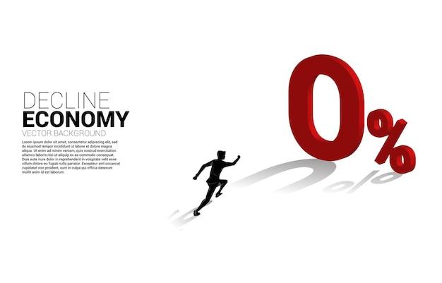 Siluetta dell'uomo d'affari che corre a 3d 0% di interesse. bandiera del declino economico e della politica bancaria di crisi.