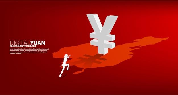 Silhouette di uomo d'affari in esecuzione con denaro yuan valuta icona 3d con ombra sulla mappa della cina. concetto per lo yuan digitale finanziario e bancario.