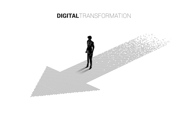 Siluetta dell'uomo d'affari che sta sulla freccia dal pixel. banner della trasformazione digitale del business.