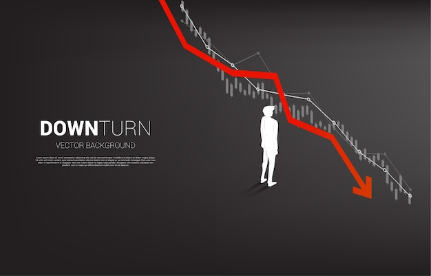 Silhouette di imprenditore in piedi il grafico di flessione. concetto per fallimento e affari accidentali
