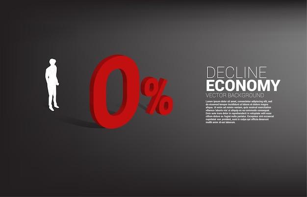 Sagoma di uomo d'affari in piedi con 3d 0% di interesse. concetto di declino economico e politica bancaria di crisi.
