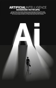 Siluetta dell'uomo d'affari che sta con la porta di uscita del testo di ai. concetto di business per l'apprendimento automatico e l'intelligenza artificiale ai