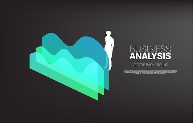 Siluetta dell'uomo d'affari che sta con il grafico. banner di informazioni aziendali e analisi dei dati.