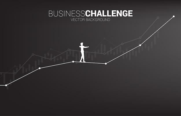 Siluetta dell'uomo d'affari che cammina sul modo della passeggiata della corda fino al grafico lineare di crescita.
