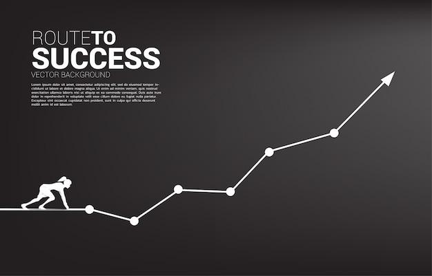 Siluetta della donna di affari pronta a correre dalla linea di partenza sul grafico crescente. concetto di persone pronte per iniziare la carriera e gli affari