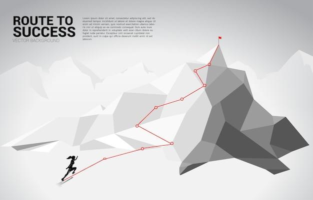 Silhouette di donna d'affari in esecuzione sul percorso verso la cima della montagna. concetto di obiettivo, missione, visione, percorso di carriera, concetto di vettore stile linea di collegamento a punti poligonali