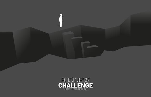 Siluetta della donna di affari che sta alla violazione. concetto di sfida aziendale e uomo di coraggio