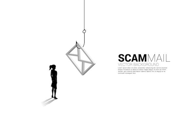 Siluetta della donna di affari che sta con il gancio di pesca con l'icona del email. concetto di posta truffa e phishing.