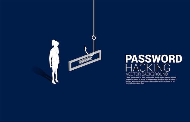 Silhouette di donna d'affari in piedi con amo da pesca con password. concetto di click bait e phishing digitale.