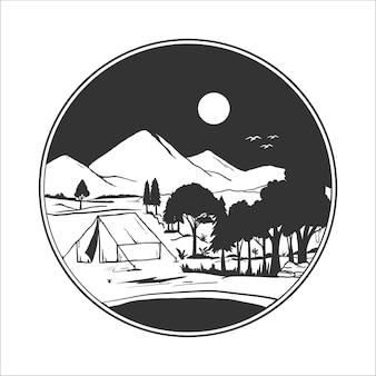 Distintivo da campeggio sagoma. illustrazione vettoriale di campeggio nelle montagne selvagge