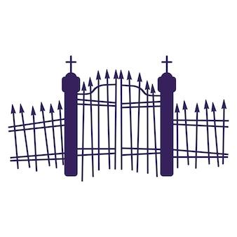 Silhouette di un cancello del cimitero.