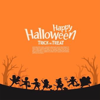Sagoma di bambini in costume di halloween per andare dolcetto o scherzetto. modello per brochure pubblicitaria. felice halloween.