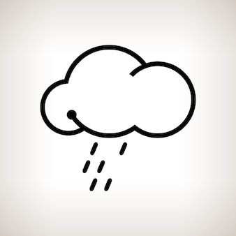 Silhouette nuvola con la pioggia su uno sfondo chiaro, illustrazione vettoriale in bianco e nero