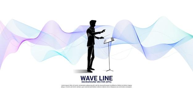Sagoma del conduttore in piedi con onda sonora. priorità bassa di concetto per il concerto e la ricreazione dell'orchestra.