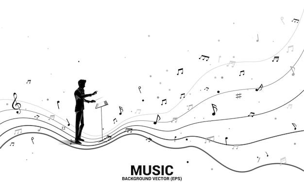Silhouette del direttore d'orchestra con nota musicale forma di flusso danzante. musica di sottofondo di concetto per bambini e ragazzi.