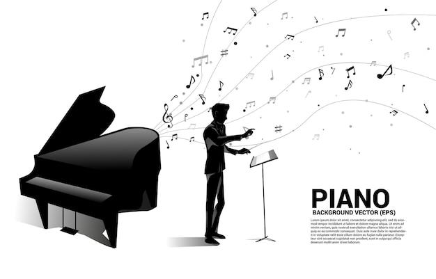 Silhouette del direttore d'orchestra con pianoforte a coda con flusso di danza nota melodia di musica.