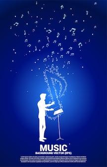Silhouette del direttore d'orchestra con icona della musica a forma di nota chiave.