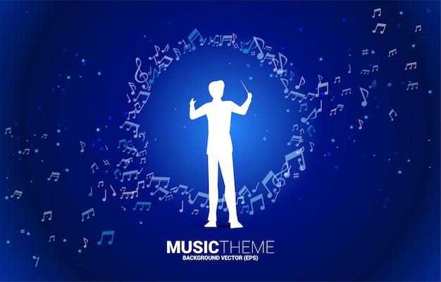 Silhouette del direttore d'orchestra con flusso di danza della nota di melodia di musica.