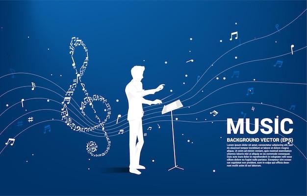 Silhouette del direttore d'orchestra con musica melodia forma sol nota chiave flusso danzante.