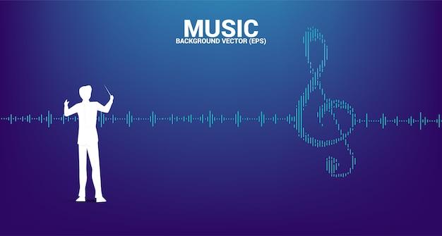 Silhouette del direttore d'orchestra con l'icona di nota chiave sol onda sonora musica equalizzatore sfondo. sfondo per concerti di eventi e festival musicali