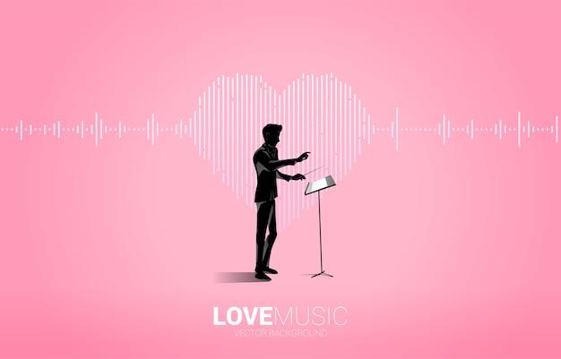 Silhouette del direttore d'orchestra con l'icona del cuore dell'onda sonora sfondo di equalizzatore musicale. segnale visivo della musica della canzone d'amore