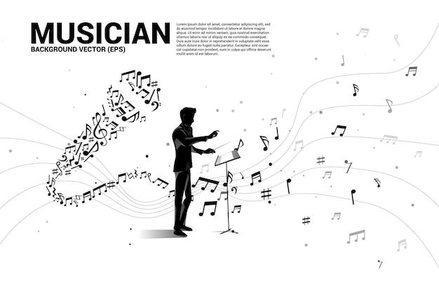 Silhouette del direttore d'orchestra con microfono a onda sonora dalla melodia di musica nota danza.