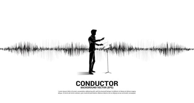 Silhouette del direttore d'orchestra con sfondo di equalizzatore musica onda sonora.