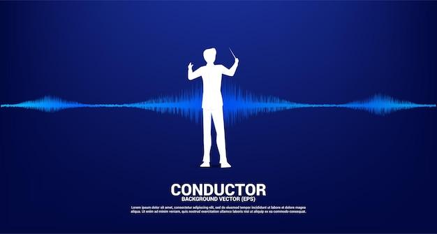 Silhouette del direttore d'orchestra con sfondo di equalizzatore musicale dell'onda sonora.