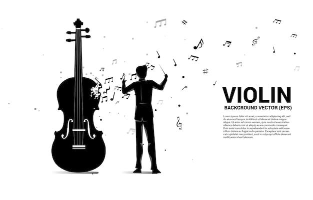 Silhouette del direttore d'orchestra con violino con flusso di danza nota melodia di musica.