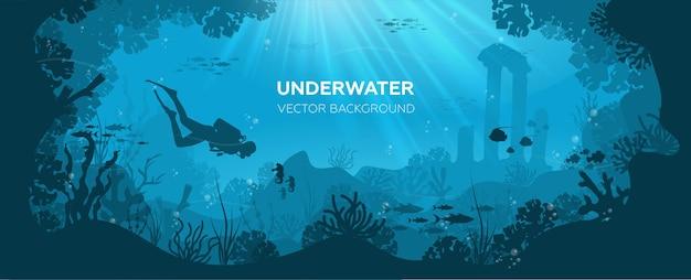 Silhouette di barriera corallina con pesci e subacqueo su uno sfondo blu del mare