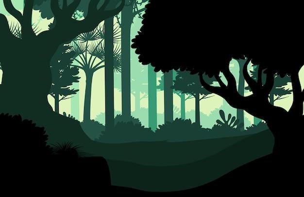 Sfondo di paesaggio foresta scura sagoma