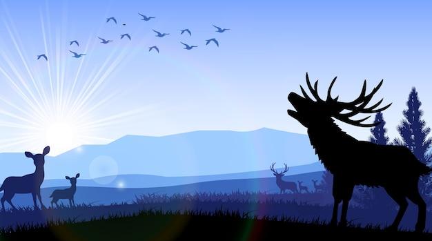 Sagoma di cervo e canguro in piedi