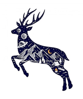 Siluetta dell'illustrazione della natura e dei cervi